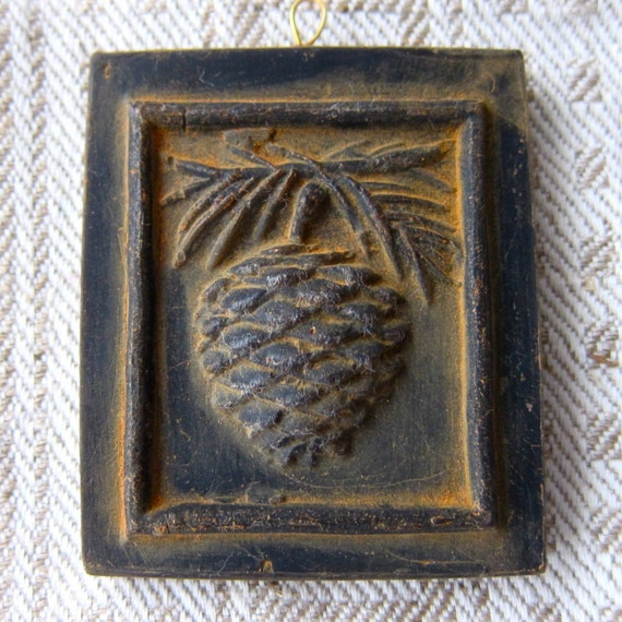 Primitive PINE CONE & Needles Cast BEESWAX Very Detailed Black Ornament