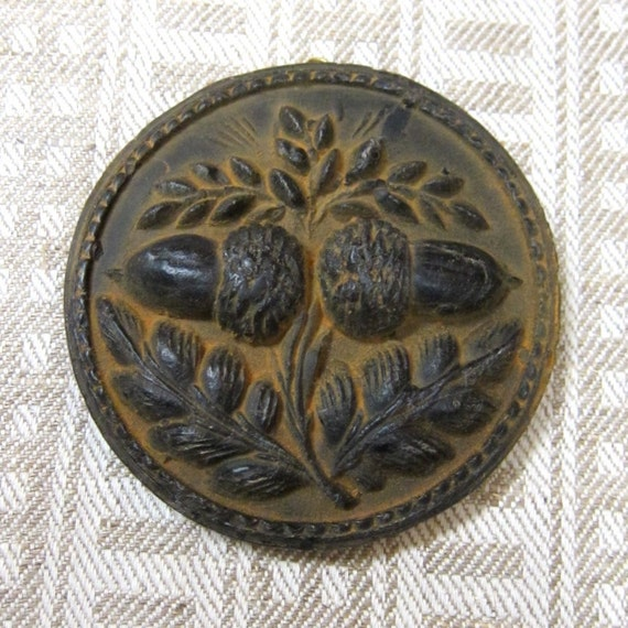 Primitive DOUBLE ACORN Cast BEESWAX Very Detailed Black Ornament