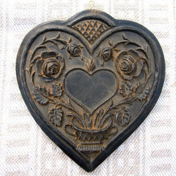 Large Twin Roses Heart Cast Black Beeswax Primitive Very Detailed Ornament
