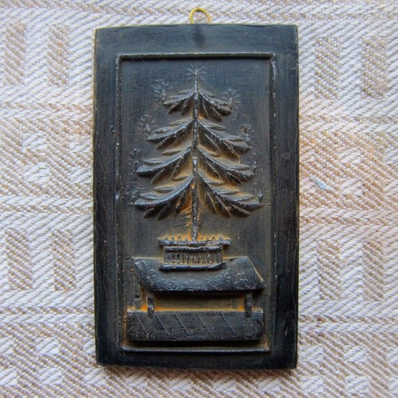FEATHER TREE Cast Black BEESWAX Primitive Very Detailed Ornament