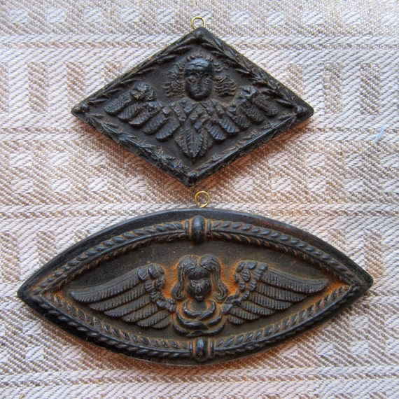 Set of 2 ANGELS Cast Black BEESWAX Primitive Very Detailed Ornament
