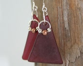 Red Glass Earrings Recycled Vintage Plate with Sterling silver French Hooks