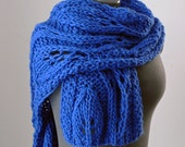 Royal Blue Bulky Wool Scarf  with Leaf