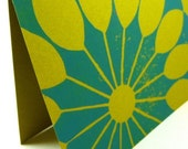 Fan Card - Caribbean Blue and Lime Green