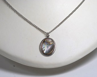 VINTAGE ABALONE SILVER TONE  METAL NECKLACE AND CHARM