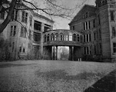 Walkbridge at Taunton State Hosp Kirkbride Black and White Photograph