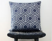 ATOM Silver on Blue Linen Pillow Cover 45 x 45 cm