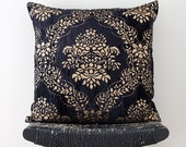 Dark Blue Crushed Velvet with Gold Overprint 45 x 45 cm, 18 inch Cushion Cover, Throw Pillow