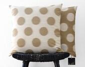 DOT Brown Dot on Beige Silk Wool Cushion Cover, Throw Pillow 45 x 45 cm