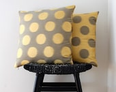 DOT Yellow Dot on Grey Silk Wool Cushion Cover, Throw Pillow 45 x 45 cm, 18 inch