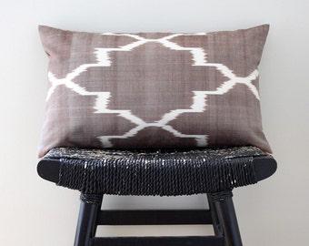 BROWN IKAT Silk Cotton 50 x 30 cm, 20 x 12 inch, Cushion Cover, Throw Pillow