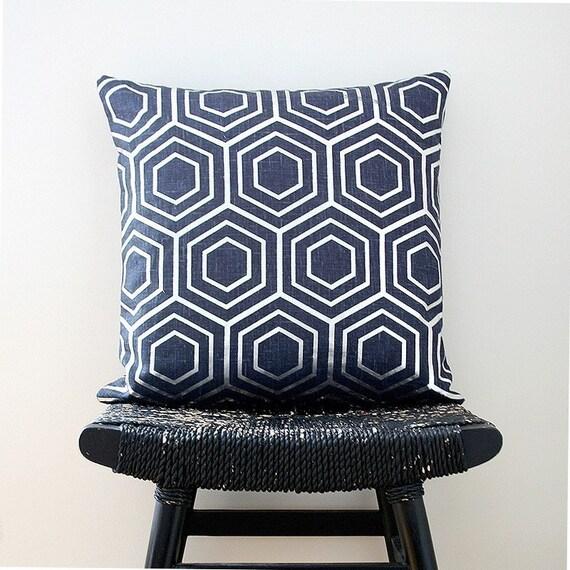 ATOM Silver on Blue Linen Pillow Cover 45 x 45 cm