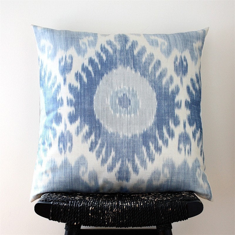BLUE IKAT Silk Cushion Cover Throw Pillow 55 X 55 By
