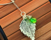 Genuine Birch Leaf and Peridot Lariat Necklace - August Birthstone