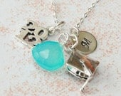 Personalized Class of 2012 Necklace with Blue Chalcedony - Graduation Convocation Commencement