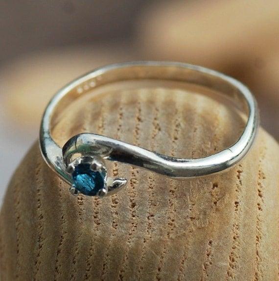 London Blue Topaz Ring in Sterling Silver - Petite Tiny Birthstone Ring - December Birthstone