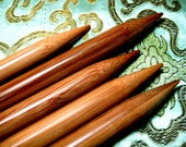 BIG size 10 inch double pointed bamboo knitting needles DP (size us 11, 13 and 15) (you will get total 15 needles)
