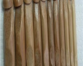 13 size Bamboo crochet hooks 2.75-10.0mm (A COMPLETE set from US size C to size N, very NICE)