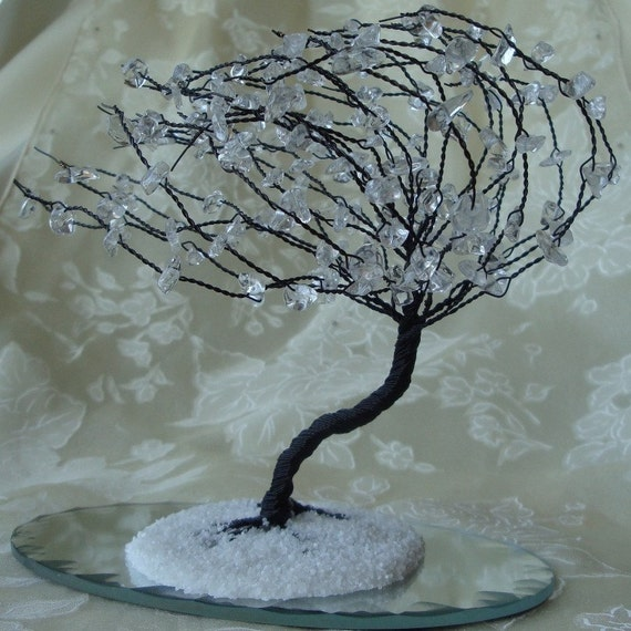 Windswept Winter Crystal Wire Tree Sculpture (Made to Order)