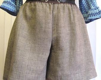 Black, White, Gray Plaid  Tap Shorts for Plus Size
