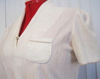1970s Cream Wth Tan Piping Textured Polyester Summer Career Dress