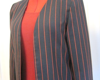 1970s Navy With Red Pinstriped Summer Suit With Jacket and Pencil Skirt