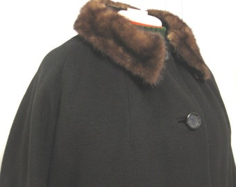 Vintage 1950s Black Textured Wool Coat with Mahogany Colored Mink Collar