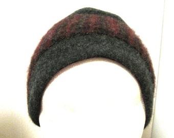 Gray and Burgundy Cashmere Winter Headband Hat