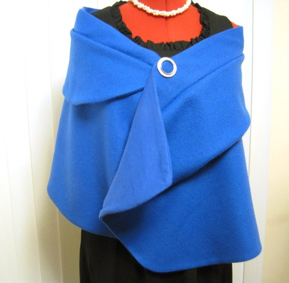 Elegant Asymmetrical Fully Lined Wool Stole Wrap Capelet