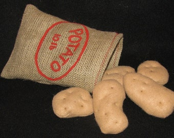 READY TO SHIP!! potatoes with potato sack felt play food