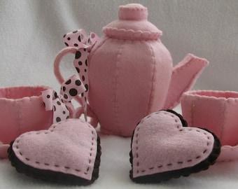 pink felt tea set