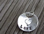 Hand stamped charm 1/2 inch tasty tag sterling silver Love ready to ship