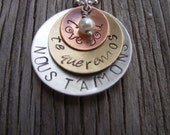 Hand stamped pendant-sterling silver, brass and copper personalized charms with a sweet 4mm pearl drop