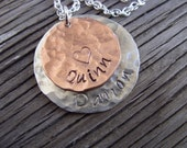 Hand stamped jewelry sterling and copper layered discs personalized mommy pendant