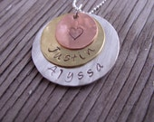 Hand stamped jewelry pendant-sterling silver, brass and copper personalized charms mothers  jewelry gift for her