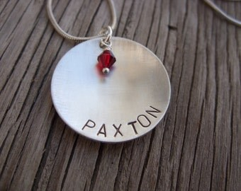 Hand stamped personalized pendant with Swarovski birthstone- Moms jewelry