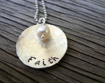 Sterling silver charm pendant- hand stamped Faith