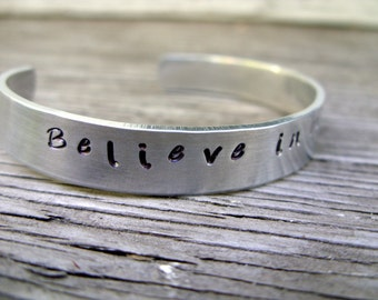 Hand stamped cuff bracelet 3/8 inch aluminum Believe in miracles ONE bracelet ready to ship gift for her