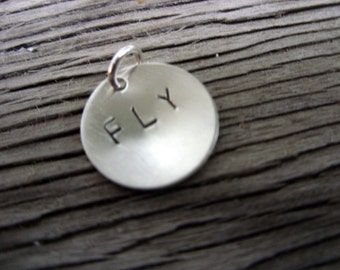 Hand stamped charm 5/8 inch tasty tag sterling silver custom ONE charm