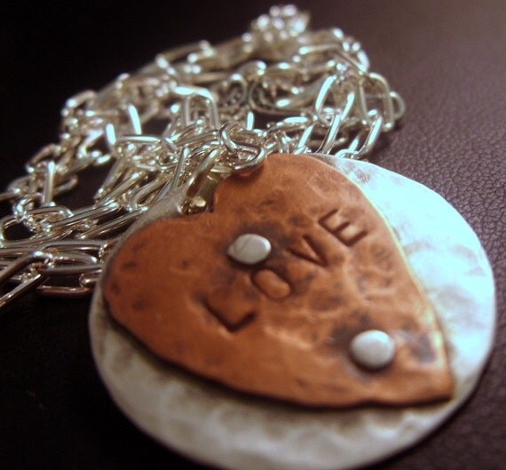Hand stamped and riveted pendant rustic sterling silver and copper LOVE