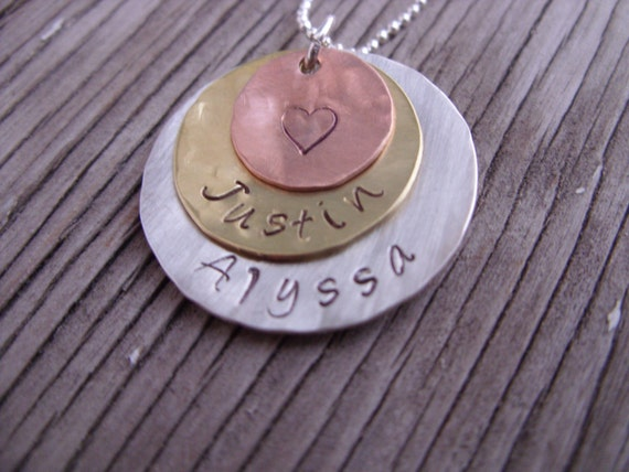Custom stamped jewelry Name pendant hand stamped mixed metals- personalized charms mothers  jewelry gift for her Valentine's Day