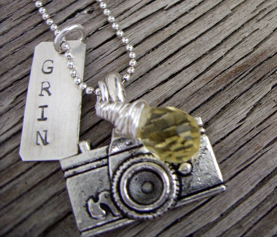 Hand stamped silver pendant- smile for the camera- grin charm, camera charm and lemon quartz briolette