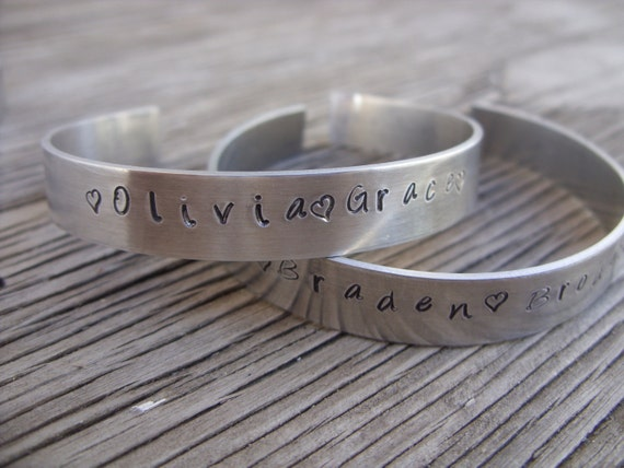 ONE Hand stamped cuff bracelet aluminum custom bracelet stackable bracelet stacking bracelet jewelry gift for girlfriend mom mother's day