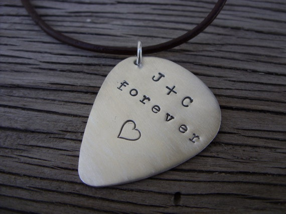 Necklace Guitar Pick Sterling Silver Hand stamped Custom Gift