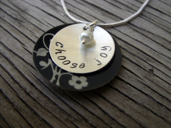 Hand stamped sterling silver 3/4 inch pendant with lovely 1 inch aluminum frame and 4mm glass pearl drop- choose joy