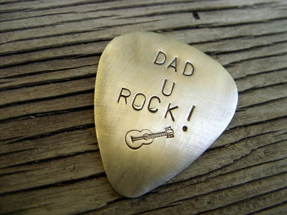 Hand stamped custom nickel silver guitar pick Dad u rock 22 gauge- ready to ship