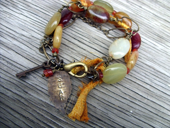 Soar into Golden Skies Boho Bracelet- sari silk antique brass, agate beads and hand stamped soar wing charm