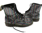 Vintage Doc Martens  8 Hole Boots Rainbow Disco Ball Size 10 US ladies