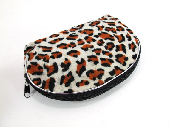 Vintage 90s Furry Leopard Print Pouch or Clutch