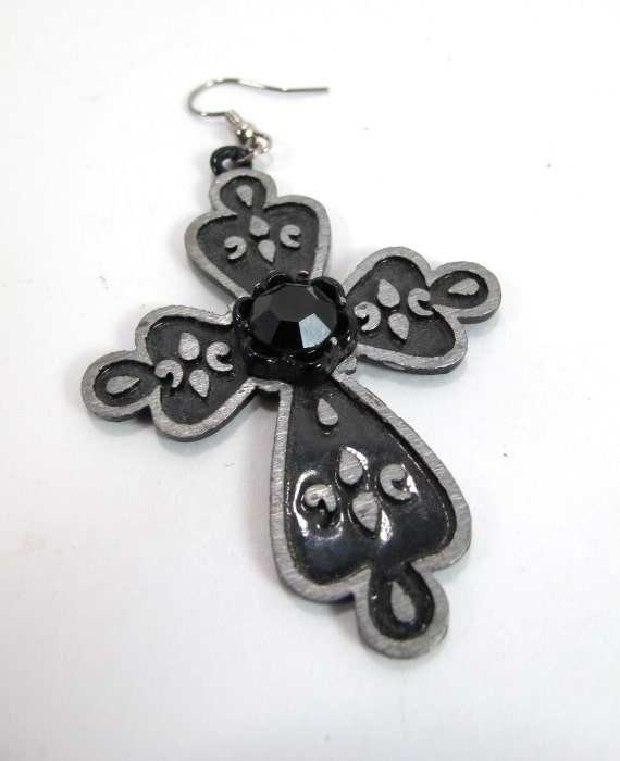 Single Gothic Cross Earring with Gem